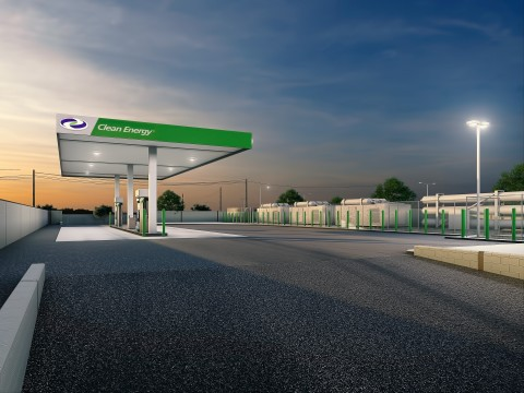 Artist's rendering of the new Clean Energy CNG station located in Hunts Point, Bronx, NY. (Graphic: Business Wire)