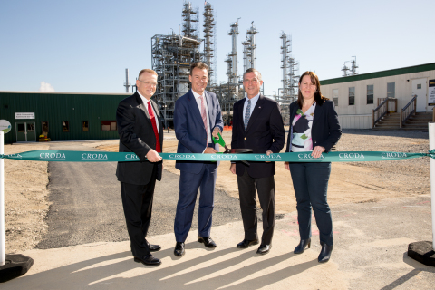 Croda International Plc celebrated the upcoming commissioning of its latest investment at its Atlas Point manufacturing site in New Castle, Delaware. The first of its type in the United States, the new plant is capable of producing 100 percent renewable, 100 percent bio-based non-ionic surfactants. Left to right: Managing Director Operations, Croda North America, Robert Stewart; Group Chief Executive, Croda International Plc, Steve Foots; Delaware Governor John Carney; President, Personal Care, Croda International Plc and President, North America, Sandra Breene. (Photo: Business Wire)