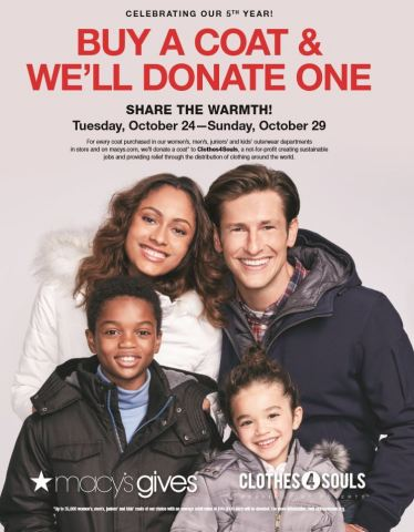 "Macy's ""Buy A Coat & We'll Donate One"" campaign in support of Clothes4Souls begins Oct. 24 (Photo: B ..."