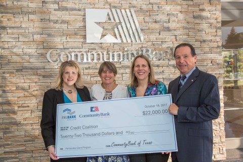 On October 19, 2017, CommunityBank of Texas and the Federal Home Loan Bank of Dallas (FHLB Dallas) presented a $22,000 Partnership Grant Program award to the Credit Coalition in Houston. From left: Brandi Gregg, Executive VP and Chief Compliance Officer, CommunityBank of Texas; Sherrie Young, Executive Director, Credit Coalition; Denise Schmitt, Community Investment Operations Manager, FHLB Dallas; and Travis Jaggers, President, CommunityBank of Texas. (Photo: Business Wire)