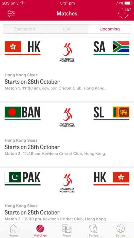 Match fixtures for the Hong Kong Sixes (Graphic: Business Wire)