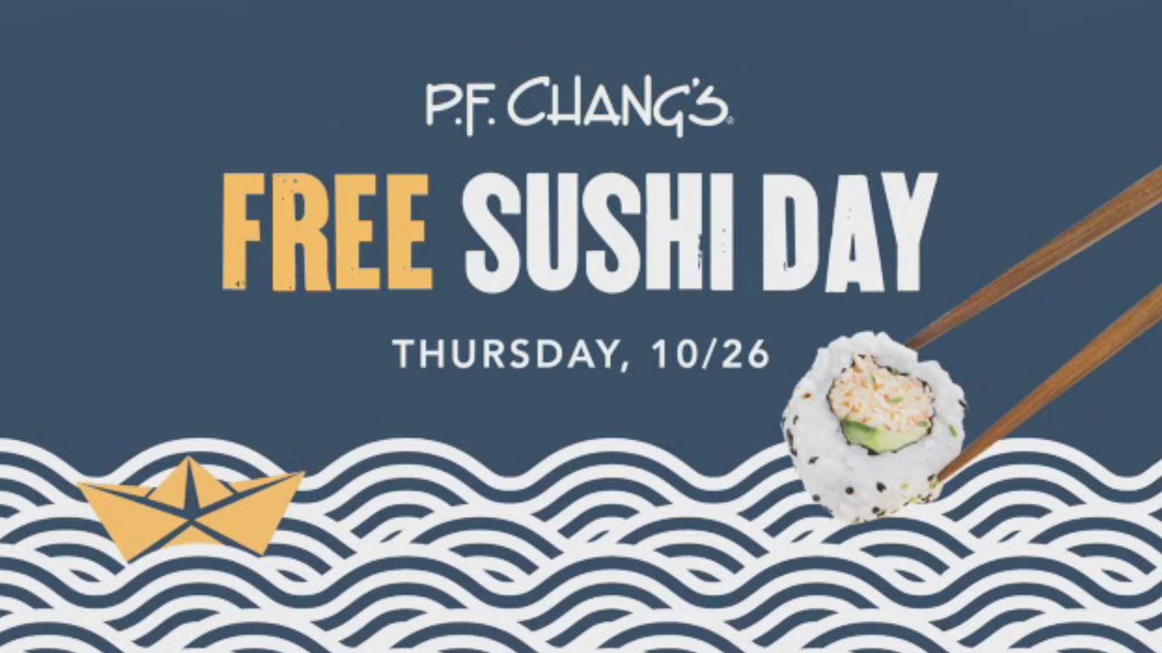 P.F. Chang's sushi is hand rolled to order with fresh julienned vegetables and rice grown exclusively in the U.S. Dine-in guests can get a free Spicy Tuna Roll or California Roll on Free Sushi Day, this Thursday, October 26.
