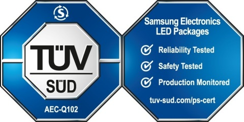 Double octagon certification mark from TÜV SÜD for Samsung automotive LED components (Graphic: Busin ...