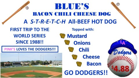 PINK'S LOVES THE DODGERS! GOING BLUE FOR THE TEAM (Graphic: Business Wire)