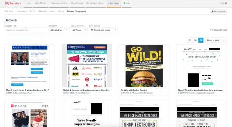 """With the new """"Browse Campaigns"""" feature, Inbox Insight users can search millions of email campaigns by subject line, industry, campaign type, and date range, to find creative inspiration and gain competitive insights. (Photo: Business Wire)"""