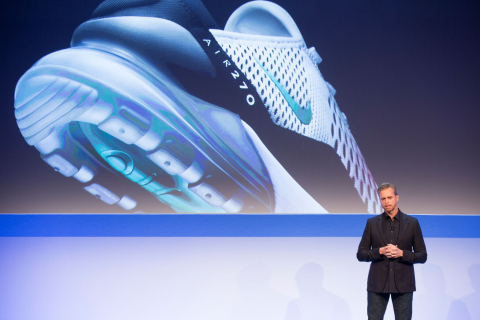 Mark Parker also revealed the NIKE Air Max 270, the first NIKE Air bag to debut in a lifestyle shoe. It will release in 2018. (Photo: Business Wire)