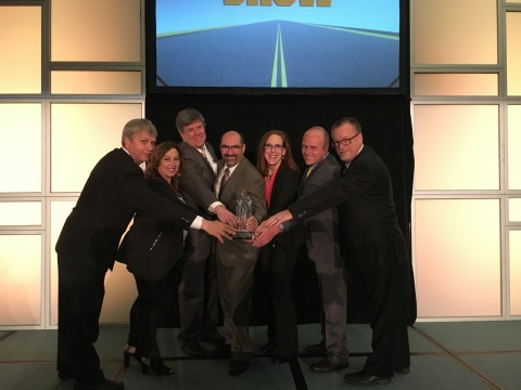AGCO Jackson Operations was named the 2017 Assembly Plant of the Year during The ASSEMBLY Show, Oct. 25 in Rosemont, Ill. Accepting the honor on behalf of the entire AGCO Jackson manufacturing team are left to right: Jim Croxton, director of Manufacturing; Kim Phillips, manager, Human Resources; Greg Bornholdt, director of Finance; Eric Fisher, director of Operations; Peggy Gulick, director of Business Process Improvement; Travis Van Genderen, senior manager, Supply Chain and Rick Leonard, Quality manager. AGCO Jackson Operations is the only agricultural manufacturing center to receive this distinction since the award was founded in 2004. (Photo: Business Wire)