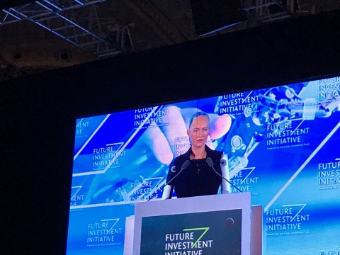 Sophia Robot, an advanced lifelike humanoid robot, speaks October 25 at a panel on robotics and artificial intelligence at the Future Investment Initiative (FII) conference in Riyadh, shortly before being declared a citizen of the Kingdom of Saudi Arabia, the first country to grant citizenship to a robot. Sophia was built by Hong Kong-based Hanson Robotics Ltd., which says its humanlike robots have remarkable expressiveness, aesthetics, and interactivity. [Photo by the Center for International Communication, Ministry of Culture and Information, Kingdom of Saudi Arabia] (AETOSWire)