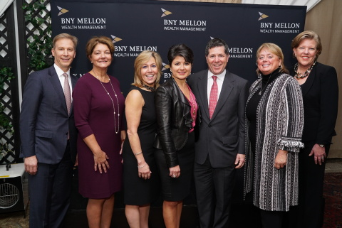 """BNY Mellon Wealth Management """"Game Changers"""" Event with women leaders in the wine industry. L-R: Mark Osgood, president – Tri-State Region, BNY Mellon Wealth Management; MaryAnn Tsai co-founder and proprietor, Moone-Tsai Wines; Nicole Carter, chief marketing officer and director of winemaking, Hess Family Wines Estates; Katia Friend, managing director, BNY Mellon Wealth Management; Tom Dicker, president – U.S. Markets, BNY Mellon Wealth Management; Debra Mathy, Proprietor, Dutcher Crossing Winery; Maggie Zeman, senior vice president and general manager – New York, Double Forte (Photo: Business Wire)"""