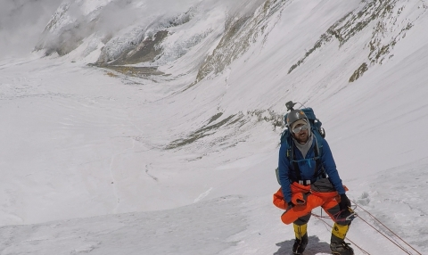 Octapharma USA has provided a grant to support the final leg of the inspirational journey of Chris Bombardier, who hopes to become the first person with severe Hemophilia to climb the Seven Summits of the world. Bombardier is shown during his recent climb of Mount Everest, also sponsored by Octapharma. (Photo: Business Wire)