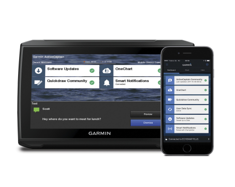 Garmin ActiveCaptain is a free all-in-one mobile app for mariners that delivers a seamless content management system with unlimited access to cartography, automatic delivery of the latest software available, off-vessel planning capabilities, connected services and so much more in one simple, yet powerful application. (Photo: Business Wire)
