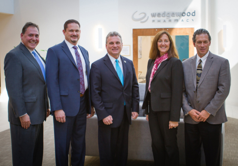 """[L-R] Jeffrey A. Fiarman, general counsel, Wedgewood Pharmacy; Anthony Grzib, R.Ph., director of Pharmacy Compliance, Wedgewood Pharmacy; U.S. Congressman Earl L. """"Buddy"""" Carter; Marcy A. Bliss, president and CEO, Wedgewood Pharmacy; and Randy Burrows, director of Business Development, Wedgewood Pharmacy. (Photo: Business Wire)"""