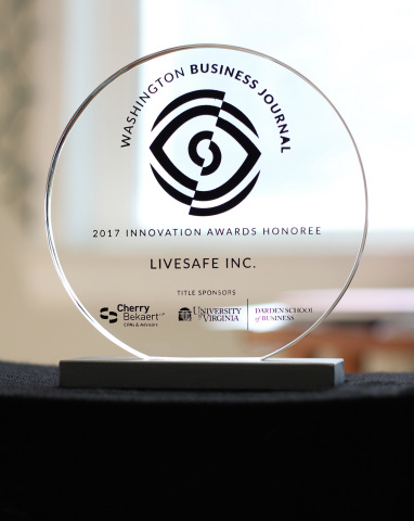 2017 Washington Business Journal Innovation Award presented to LiveSafe. (Photo: Business Wire)