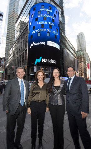(From left to right) Nelson Griggs, President of the Nasdaq Stock Exchange; Rakefet Russak-Aminoach, CEO of Bank Leumi; Yifat Oron, CEO of LeumiTech; and Asaf Homossany, Managing Director - EMEA of Nasdaq at Nasdaq MarketSite on October 31, 2017. Photo: Nasdaq