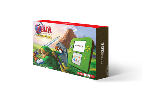 The first deal is a Link green Nintendo 2DS system with bright orange buttons that comes pre-installed with The Legend of Zelda: Ocarina of Time 3D game at a suggested retail price of only $79.99. (Photo: Business Wire)