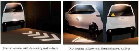 The rear indicator with illuminating road surfaces and door indicator with illuminating road surfaces (Photo: Business Wire)