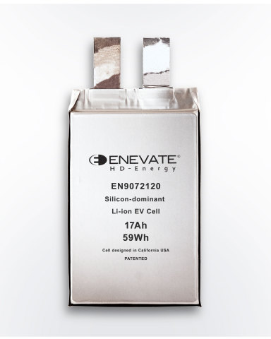 Enevate's silicon-dominant EV battery technology features up to 10C charging rates with over 750 Wh/L energy density. (Graphic: Business Wire)