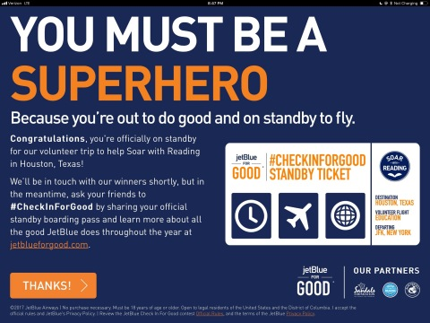 Just in Time for JetBlue for Good® Month, Customers can #CheckInForGood at To Enter For A Chance to Make a Difference on a Volunteer Trip with JetBlue (Graphic: Business Wire)
