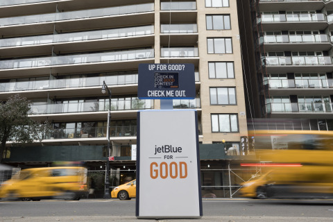 Throughout November, JetBlue is asking customers to #CheckInForGood at kiosks in New York and Los Angeles and enter to win a complimentary trip to volunteer with some of the airline's non-profit partners. (Photo: Business Wire)