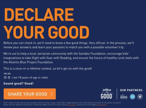 Declare Your Good: JetBlue Launches #CheckInForGood Contest to Celebrate Kindness in the Air and On the Ground (Graphic: Business Wire)