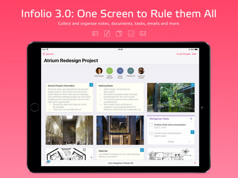 Built from scratch for use on the iPad, Infolio 3.0 is optimized for iOS 11 to improve team collaboration. (Photo: Business Wire)
