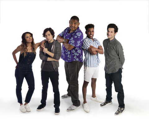 Pictured (L-R): Nickelodeon's Rise of the Teenage Mutant Ninja Turtles voice cast; Kat Graham (April O'Neil), Josh Brener (Donatello), Omar Miller (Raphael), Brandon Mychal Smith (Michelangelo) and Ben Schwartz (Leonardo).
