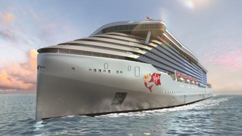 ヴァージン・ヴォヤージュのクルーズ船。前から見た船の完成予想図。(写真:ビジネスワイヤ) 写真
