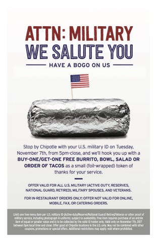 Chipotle Offers Active Military and Veterans BOGO as Foil-Wrapped Token of Thanks on Nov. 7 (Graphic ...