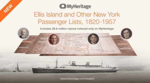 MyHeritage Adds Significant Collection of New York Immigration Records with Unique Content (Photo: Business Wire)
