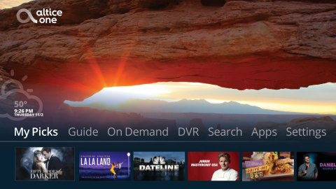 Altice One home screen and user interface (Photo: Business Wire)