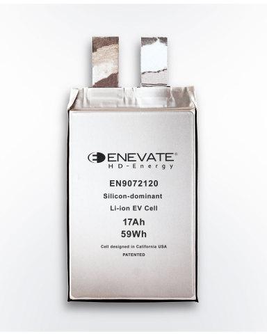 La technologie à dominante silicium développée par Enevate des batteries pour VE permet des taux de charge testés de 10C avec une densité d'énergie de plus de 750 Wh/L. (Illustration : Business Wire)
