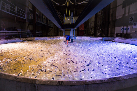 The last piece of glass is placed into the mold for GMT mirror 5. Credit: Giant Magellan Telescope – ...