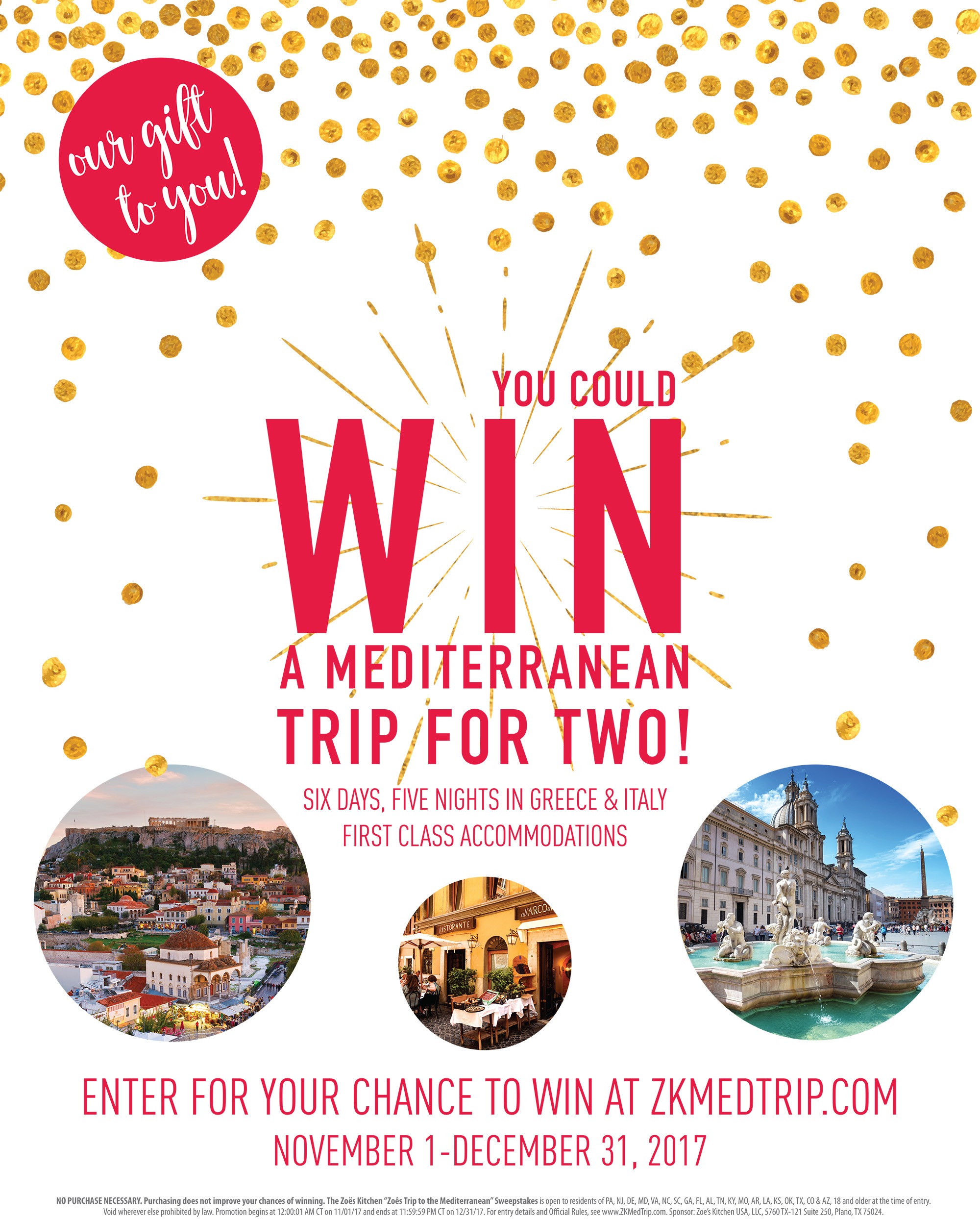 Zoës Kitchen Offers Guests An Extra Taste Of The Mediterranean With Holiday  Sweepstakes | Business Wire