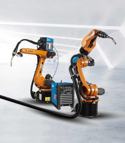 The ready2_arc Miller utilizes the KUKA KR CYBERTECH nano and KR CYBERTECH arc nano generation robots with Miller Auto-Continuum 350 and 500. (Photo: Business Wire)
