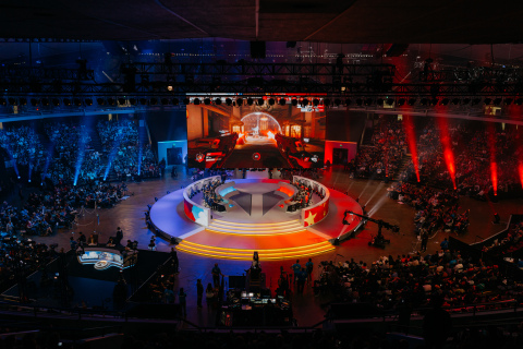 The Overwatch Arena at BlizzCon, where top players from across the globe competed in the Overwatch World Cup finals throughout weekend. (Photo: Business Wire)