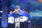 South Korea's MVP Black hoists the Heroes of the Storm Global Championship (HGC) trophy after defeating Europe's Fnatic in the finals at BlizzCon 2017. (Photo: Business Wire)