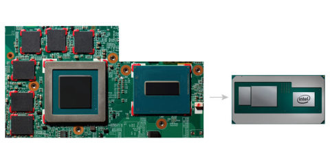 Intel introduces a new product in the 8th Gen Intel Core processor family that combines a high-performance CPU with discrete graphics and HBM2 for a thin, sleek design. A comparison shows the space these components take on a traditional board (left) and on the new 8th Gen Intel Core processor that combines the components all on one package. (Credit: Intel Corporation)