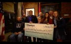 O'Charley's President, Eddie Hall, presented The Folded Flag Foundation a check for $130,949 in advance of Veterans Day at the Brentwood, TN O'Charley's location on Monday, November 6. (Photo: Business Wire)