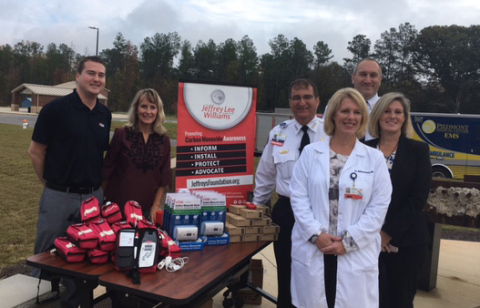 The Jeffrey Lee Williams Foundation Presents Masimo Rad-57® Pulse CO-Oximeters® to Members of the Piedmont Medical Center EMS (York County, South Carolina) (Photo: Business Wire)