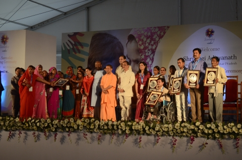 Hon'ble CM, Uttar Pradesh, Shri Yogi Adityanath Ji at the HCL Samuday unveiling ceremony along with  ...