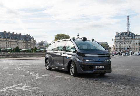 The NAVYA AUTONOM CAB on the streets of Paris.