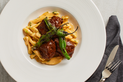 California Pizza Kitchen introduces new Chile-Braised Short Ribs & Chipotle Mac 'n' Cheese: tender,  ...