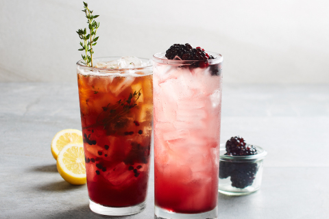 California Pizza Kitchen introduces two new holiday beverages, including a Blackberry Bramble and a non-alcoholic Blackberry Tea Thyme. Photo courtesy of California Pizza Kitchen and Waterbury Publications