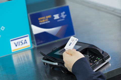 Visa, the exclusive payment technology partner of the Olympic and Paralympic Games, today introduced three commercially available wearable payment devices: NFC-enabled payment gloves, commemorative stickers and Olympic pins. Pictured here: the Visa payment-enabled commemorative sticker. (Photo: Business Wire)