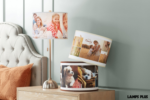 Lamp shades can now display your favorite photos with the new custom photo feature at Lamps Plus. (Photo: Lamps Plus)