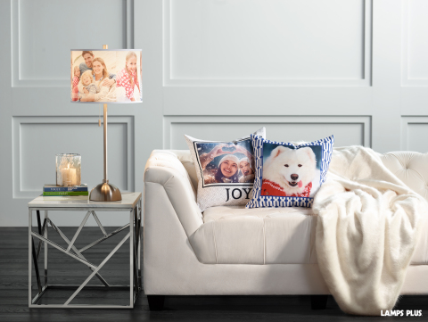 Move photos from your phone to your home décor with pillows and lamp shades created using the Lamps Plus custom photo feature. (Photo: Lamps Plus)