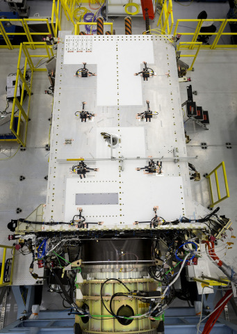 Harris navigation payloads are already integrated in the second GPS III space vehicle, pictured here, and the first GPS III satellite, declared available to launch in 2018. (Photo courtesy Lockheed Martin)