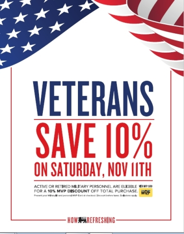 Food Lion Offers 10 Percent Discount for Active and Retired Military Personnel on Veterans Day; Grocer to Donate $650,000 to Hope For The Warriors® and 200 Backpacks to Nourish Jacksonville, N.C.-Based Military Families Nov. 9 (Graphic: Business Wire)