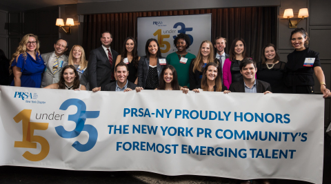 2017 PRSA-NY 15 Under 35 Award Recipients pictured with PRSA-NY President Olga González, President Elect, Sharon Fenster, 15 Under 35 Co-Chairs, Rob Bratskeir and Kellie Jelencovich (Photo: Business Wire)