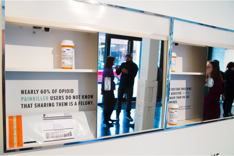 "Stericycle Seal&Send envelope inside a medicine cabinet at the National Safety Council's ""Stop Everyday Killers"" memorial in Chicago. (Photo: Business Wire)"